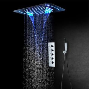 온도 조절기 4 기능 샤워 패널 304 스테인리스 LED 빗물 폭포 스파 큰 샤워 헤드 최근 천장 욕실 수도꼭지 세트