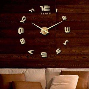 Moderne Grand Horloge murale 3D Miroir Sticker Unique Big Number Montre bricolage Décor Vente