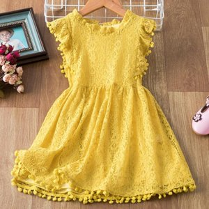Summer 3-8 Years Petal Sleeve Girls Dress Children Ruffles Candy Color Birthday Party Vestidos Kids Wedding Wear Casual Clothes