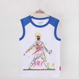 2019 Children Camisoles Tanks Ronaldo Football Star Print Kids Tank Top Cotton King Boy Tops Boys Undershirt Sleeveless Shirt