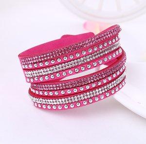 Piel de Navidad multicapa Wrap pulseras Slake Deluxe encanto brazaletes con cristal chispeante Mujeres de arena de playa regalo de la joyería fina