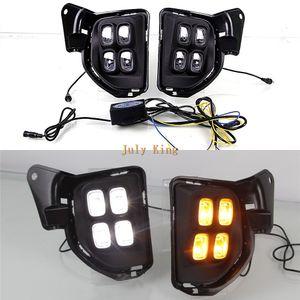 Juillet Roi LED Feux de jour DRL cas pour Toyota Hiace 2014-2018, 12W 6000K 4LEDs lampe de brouillard + jaune clignotants lumières