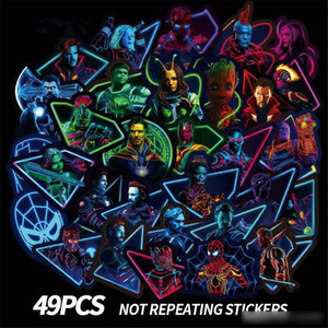 Marvel Floresan çıkartmaları 49pcs Avengers 4 Kaptan Marvel Thanos Iron Man Kitap Bagaj Laptop Buzdolabı Aydınlık Sticker Oyuncak