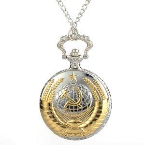 Presentes Pocket Watch Vintage URSS Badges Sickle Emblem Martelo Colar comunismo Bronze Assista das mulheres dos homens colar de pingente