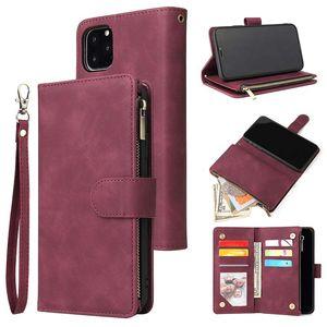 Para iPhone 11 Pro Max XS XR X 8 7 Plus couro com zíper carteira Caso o telefone com cartão corda Titular slot All-Inclusive Tampa