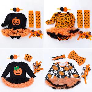 هالوين الطفل زي الطفل الفتيات السروال القصير الوليد الملابس 4 قطع مجموعات هالوين اليقطين حللا اللباس الكرتون المطبوعة الطفل السروال القصير B211