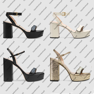 Donne Chunky High Heel Platform Sandalo Sandalo Sandalo Sandalo Strappy Calf Leather Shoes Double Metal Fibbia Lady Summer Party Abito Abito da sposa Scarpe da sposa