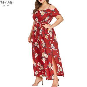 Kadın Plus Size Bohemian Maxi Dres Straplez Kayış Yüksek Elastik Bel Bandaj Bow Çiçek Baskı Uzun Elbise Plaj Partisi vestidos