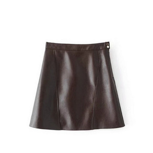 2019 new fashion Women's European and American fashion short skirt with high waist, thin waist and polychrome PU leather