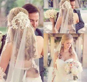 Largo elegante de encaje de tul velos de encaje apliques boda Velos de novia Bordes que coincidan con los vestidos de novia