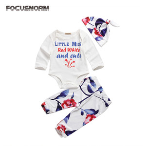 3pcs Newborn Baby Girls Clothing Set printed letter long sleeve Romper and Floral Leggings Pants Hat Outfits Clothes for baby