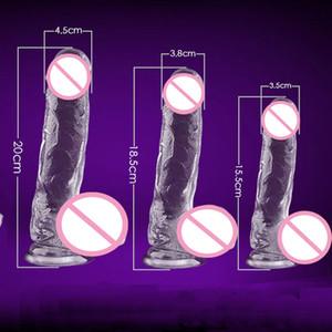 Big Dildos für Frauen Realistic Kristall Dildo Anal Silikon-Penis Künstliche Wasserdicht Dick Saugnapf Dildo Sex und Erotik Y200410