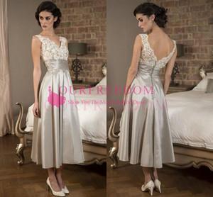 2020 Zarif Boho Anne Gelin Elbiseler Dantel Saten Ayak Bileği Uzunluk Backless Düğün Konuk Elbise Kısa Abiye giyim Custom Made