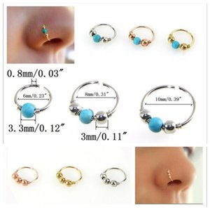 2017 New turquoise Bead nose hoop Nose ring Lip rings Ear bone ring Body Piercing Jewelry