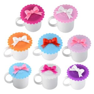 Cute Reusable Cup Lid with Bowknot Silicone Anti-dust Bowl Cover Thermal Insulation Cup Seals Glass Mugs Cover Drinkware Parts