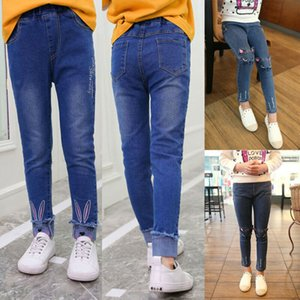 Kid Mädchen Jeans 2020 Frühling und Herbst Kinder Hosen-Katze-Ohr-Häschen gestickte Jeans für Mädchen beiläufige lange Jeans