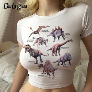 Darlingaga Harajuku Cropped Dinosaur Print White T Shirt Women Casual Summer Crop Top Tee Shirt Femme Short Sleeve T-shirt 2020