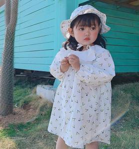 INS Printemps Automne bébé Vêtements Robe Volants collier imprimé cerises Design Princesse Girl + chapeau