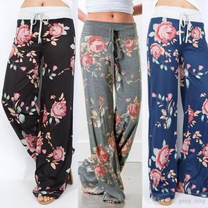 Yeni Moda Çiçek Baskı Bayan Gevşek Pamuk Spor Pantolon Yoga Pantolon Rahat Uzun Geniş Bacak Pantolon