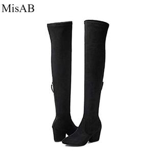 Botas de moda para mujer Primavera Invierno Botas sobre la rodilla Botas de moda tacones de gamuza de calidad larga comodidad tacones cuadrados ALF516