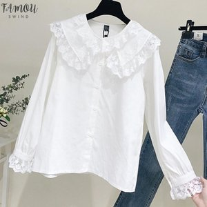 Collar de Peter Pan blanco del cordón nueva camisa de manga larga camisas de Corea colmenas de las mujeres Streetwear delgada blusa de la gasa elegante de las señoras Tops