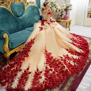 2020 Princess Red 3D Lace Flora Quinceanera Dresses Ball Gown Cap Sleeve Sheer Neck Peplum Pageant Gowns For Teens Vestidos de 15 Anos