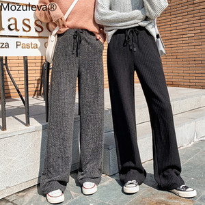 Women Knitting Pant 2020 Autumn Winter New Female Thick Warm Casual Trousers Loose High Waist Elastic Knitted Wide Leg Pants