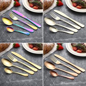 4 Piece Set Flatware Set 5 Colors Stainless Steel Dinner Set Western Utensils Kitchen Dinnerware include Knife Fork Spoon Dessert Spoon A065