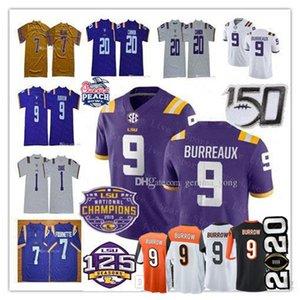 NCAA LSU Tigers 2020 Peach Bowl College-Champions Jersey Joe Burrow Burreaux Beckham Jr. Grant-Delpi Kristian Fulton Kanone Chase Fournette