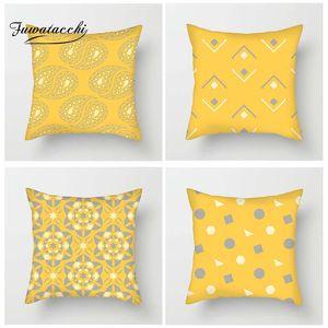 Fuwatacchi Fresh Orange Geometric Floral Cushion Cover Damond Flower Dot Throw Pillowcase Striped Pillowcases For Home Sofa