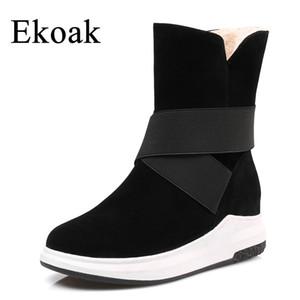 Ekoak Nuevas Mujeres Botas de Nieve Moda Botas de Invierno Cálido Botines de Felpa Zapatos de Plataforma de Damas Mujer Flock de goma