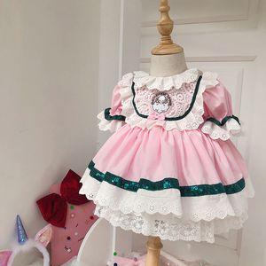 Spain Custom Flowers Pattern Wedding Children Day Dress Four Seasons Princess Dress Short-Sleeve Kids Dresses for Girls