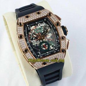 Rose Qualité Montre Luxe Skeleton Big Date Gold Asiatique 2813 Mens RM011 011-FM RM High Cadran Diamant Cas de caoutchouc Sport automatique WA Nigp