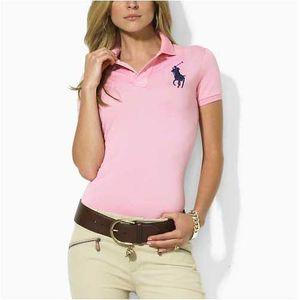 Damen Shirts Revers Kurzarm Poloshirt 17 Farbe 2019 Sommer Polo Top T-Shirts mit Logo-Print für die Dame mit Logo