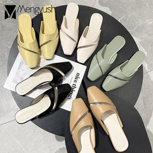 Women Solid Patchwork Shoes Transparent Slippers Summer 2020 Clear Flip Flops Woman Mules Cover Toe Slides Square Toe Sandals