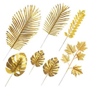 20 pcs Artificial Folha goden folhas de seda Arranjo de Flores de Parede Acessórios de Casamento Arranjo de Flores Artificiais para Decoração