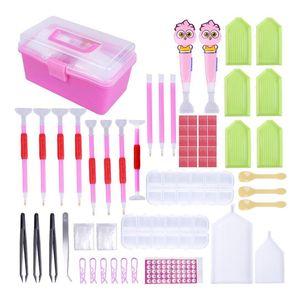 New Design LED Diamond Painting Pen Cross Stitch Tool Set 118 Pieces, Diamond Embroidery Storage Box Kit for DIY Art Craft