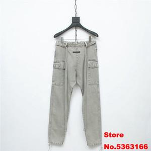 2020 Nuova Collezione Sesto FOG 6 ° Jeans Uomo Donna Loose Fit Hiphop Big Pocket sbiadito lavato uomini grigi Denim Pantaloni