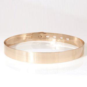 Kinikiss Vestido de mujer Cinturón plateado Espejo metálico Accesorios de vestido delgado Mujeres Cinturón dorado