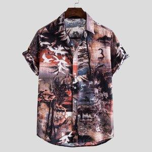 Short Sleeve Mens Shirt Summer Casual Vintage Printed Cotton Linen Hawaiian Blouse Men Linnen Shirts Mannen M5