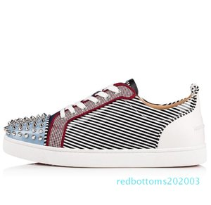 19S Vetro Metal Junior Spikes Orlato Patent Leather Round-toe Red Bottom Sneakers Low Top Fashion Lightweight Breathable Casual Sports r03
