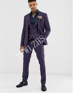 Handsome Two Buttons Groomsmen Notch Lapel Groom Tuxedos Men Suits Wedding Prom Dinner Best Man Blazer(Jacket+Pants+Tie+Vest) W216