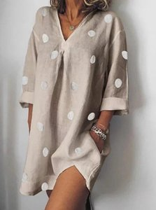 Fashion Designer Dress Womens Summer V-Neck Dresses Casual Polka Dot Loose Split Dress Fashion Female Apparel