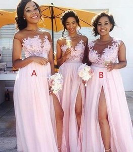New Cheaper Blush Pink Chiffon Split Bridesmaid Dresses Sheer Jewel Neck Lace Appliques Formal Long Evening Party Dress Gowns