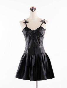 2020 pelle Anime Il diario del futuro Gasai Yuno PU nero costumi del vestito operato da Cosplay Mirai Nikki pannello esterno dei ganci delle prestazioni