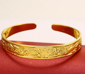 Cuff Bangle Dragon Phoenix Womens Bangle 18k Yellow Gold Filled Pulseira Bijuterias