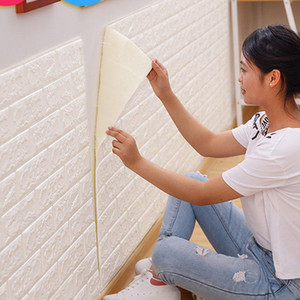 77 * 70cm 3D Wall Paper Stickers PE Foam DIY Wall Stickers Home Decoration Decor Embossed Brick Stone Living Room