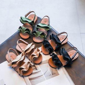 Girls Sandals 2020 Summer New Children's Korean Ruffles Princess Shoes Big Children Beach Shoes Toddler Girl Sandals Size 21-35