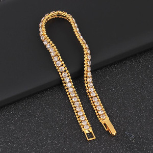 Hip hop Jewelry Hombres Pulsera Iced Out Chain Rhinestone Crystal Bracelet 1 Fila Tennis Cuban Link Chain Bracelet