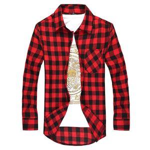 Camisa de la manera de los hombres camisa a cuadros Camisas Social hombres del otoño manga larga a cuadros botón macho de Down Casual Camisa A